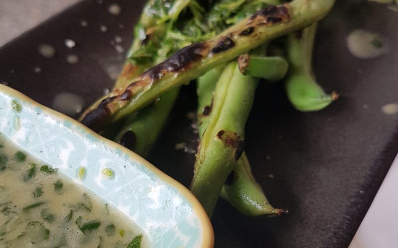 Charred Green Beans On Platter